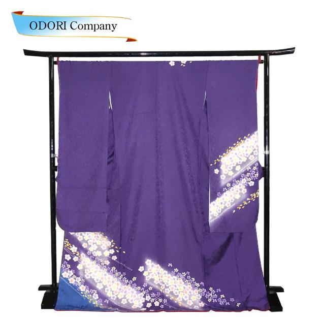振袖 正絹 着物 きもの 袷せ 仕立上り お買い得 紫地に裾桜柄 Z-3F