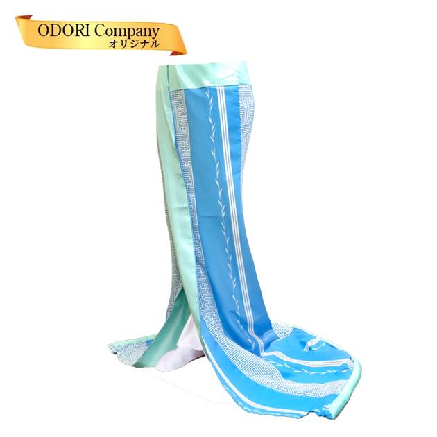 腰下 舞踊 裾引き お引き 稽古用 水色地 紗綾形と縞 踊り 着物 送料無料 Z-3F
