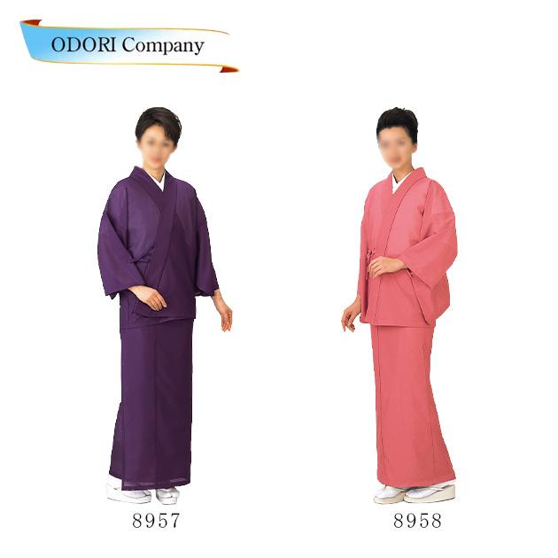 二部式着物「絽」 ポリ100% 紫 ピンク