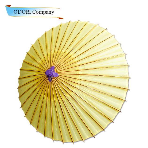 番傘(白・紫帽子・油あり)和傘 紙に油をひいています