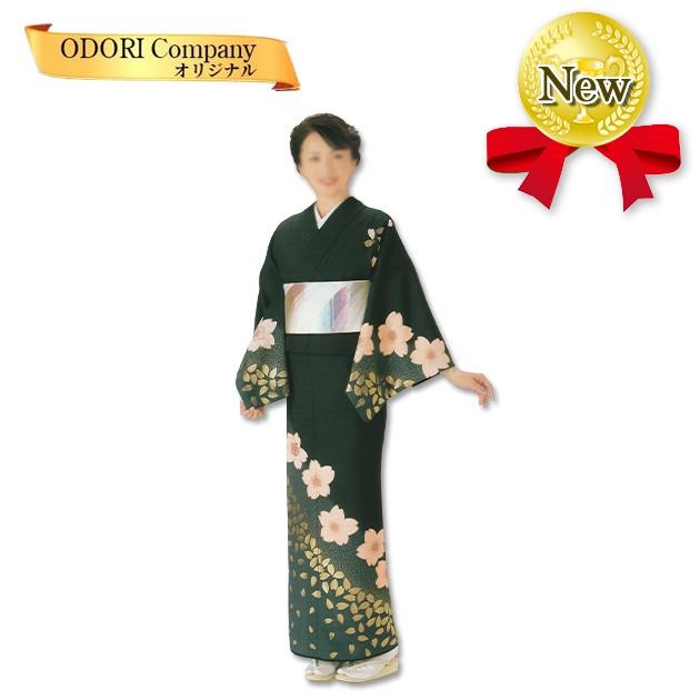 踊り 着物 舞踊 絵羽 袷仕立て フリーサイズ 仕立て上がり 黒地に桜