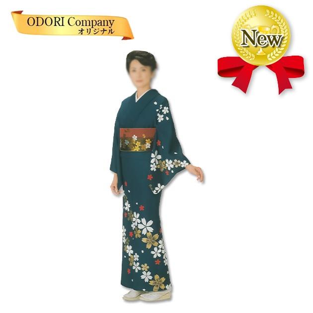 踊り 着物 舞踊 絵羽 袷仕立て フリーサイズ 仕立て上がり 紺地 桜