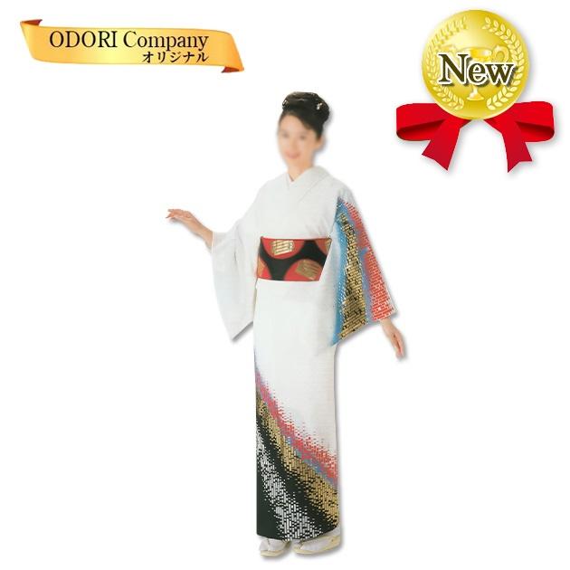 踊り 着物 舞踊 絵羽 袷仕立て フリーサイズ 仕立て上がり 白地 金 銀 赤 当店限定商品