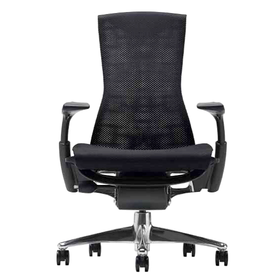 [Herman Miller]エンボディチェア(Embody Chair) /ポリッシュドアルミニウムベース/グラファイトカラーフレーム/シートカラー:ブラック(バランスファブリック)【梱包材を無料で処分/家財便配送】ハーマンミラー/EGP