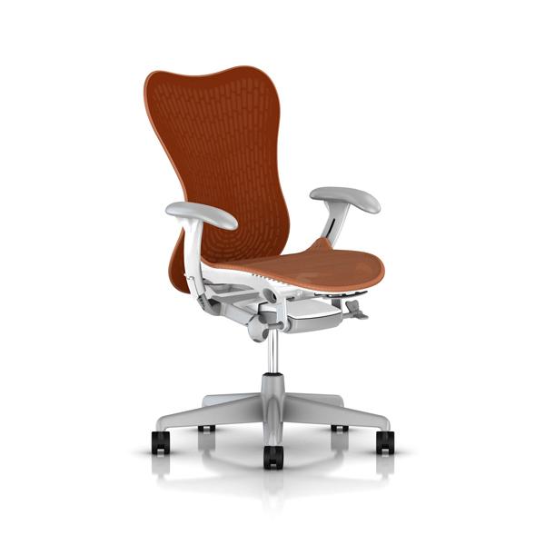 [HermanMiller] ミラ2チェア (Mirra2 Chairs) バタフライバック / 座面シート・背もたれカラー:アーバンオレンジ / ベース:フォグ / フレーム:スタジオホワイト / アームパッド:シャドウグレイ/EGP