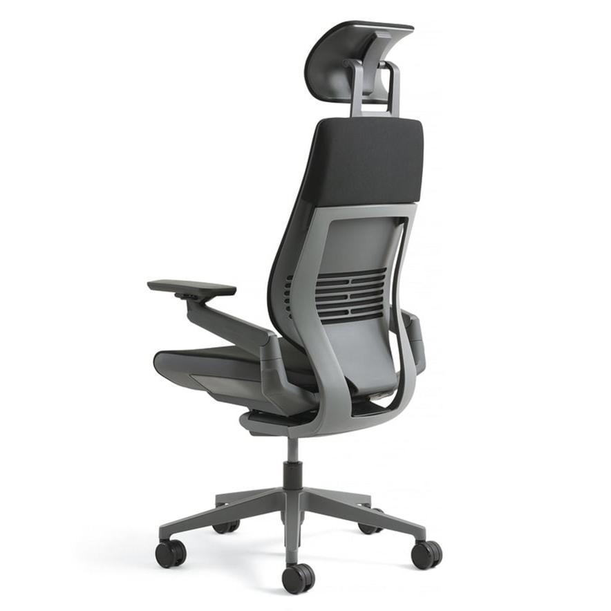 [Steelcase] Gesture(ジェスチャー) / ヘッドレスト付 / ランバーサポート付 / 背シート:3Dニット / 座シート:クロス(Connect) / 360アーム:フルアジャスタブル(可動肘)/ ラップバック / フレーム:ダーク / ベース:ダーク【完成品/家財便配送/梱包材処分費込】