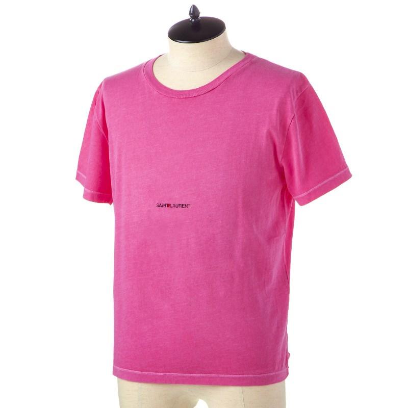 サンローラン Tシャツ メンズ 548037 YBDV2 6469 FUSCHIA-NOIR 誕生日 ブランド かっこいい 父の日 プレゼントにも 高級 20代 30代 40代 50代 60代 あす楽 送料無料 返品OK