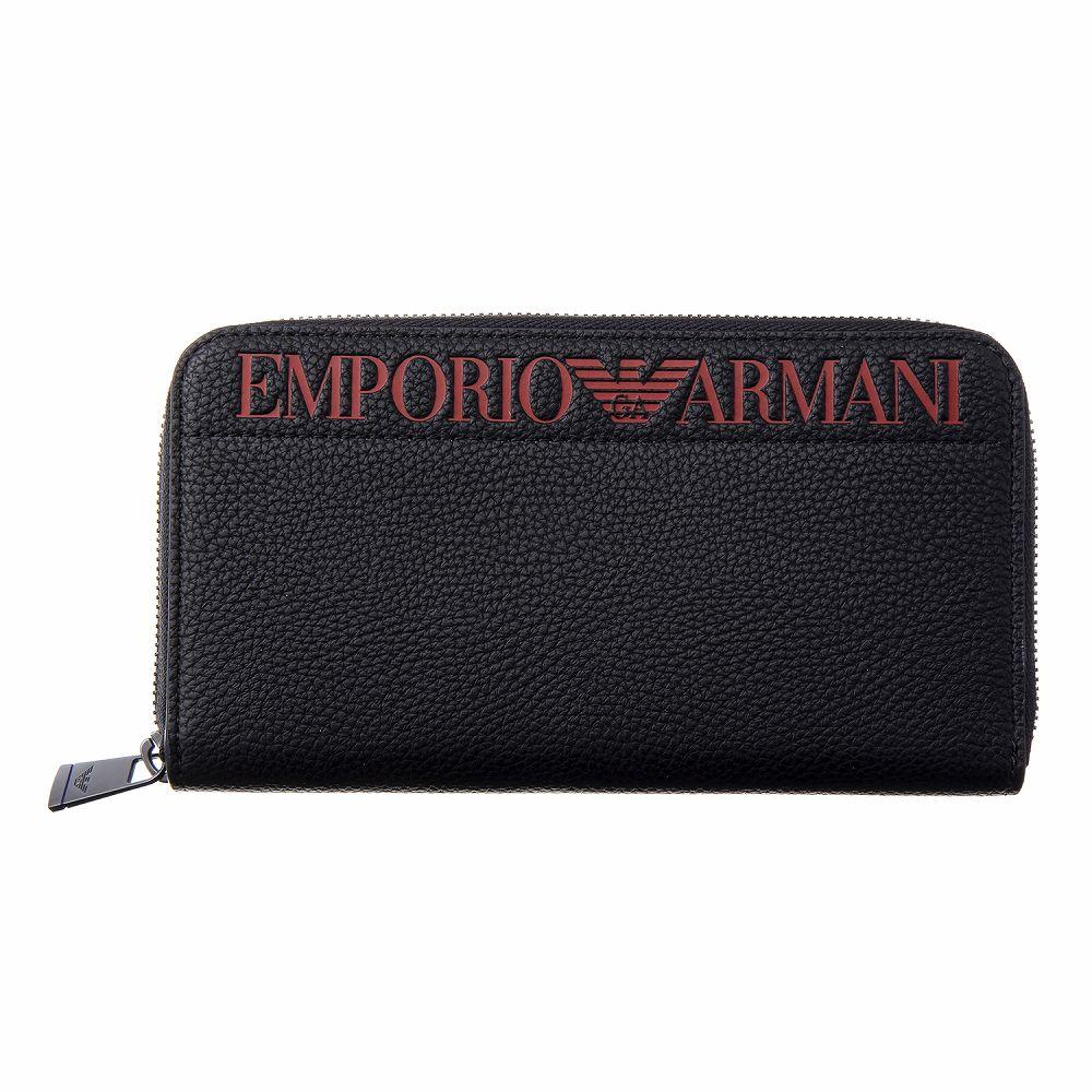 エンポリオ・アルマーニ メンズ ラウンドファスナー長財布 ブラック EMPORIO ARMANI YEME49 YG89J 83191 カジュアル かっこいい 高級 おしゃれ 誕生日 プレゼント