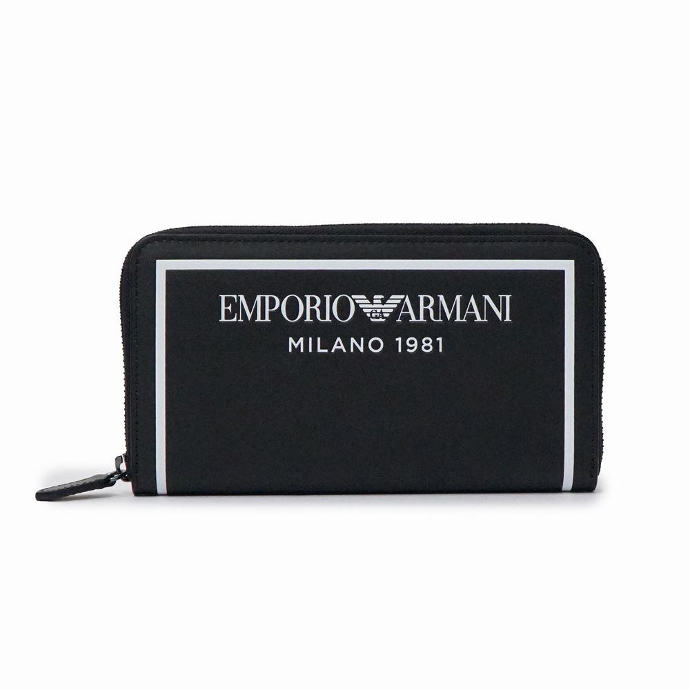 エンポリオ・アルマーニ メンズ ラウンドファスナー長財布 EMPORIO ARMANI Y3H168 YSO3I 88007 ブラック ブランド 本革 黒 正面ロゴ 誕生日 プレゼント 送料無料