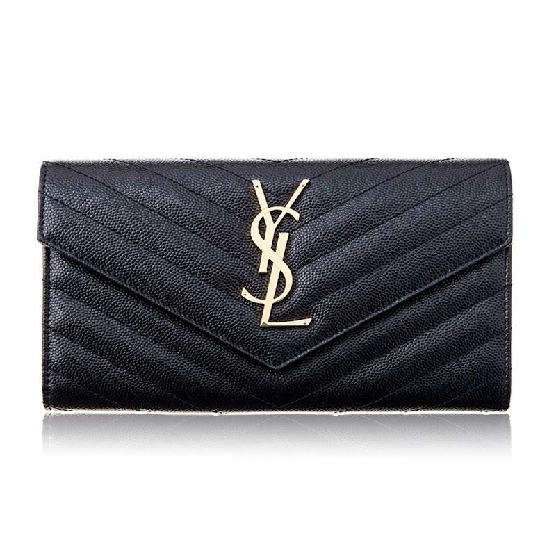 サンローラン 財布 長財布 メンズ レディース BLACK SAINT LAURENT 372264 BOW01 1000 ブラック ゴールド金具 誕生日 ブランド プレゼントにも あす楽 返品OK