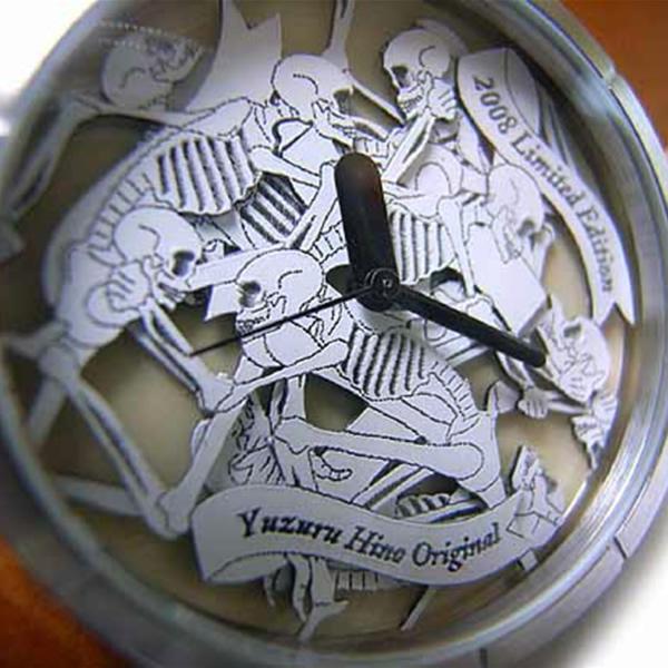 【 男女兼用アートウォッチ 】スカルの饗宴 腕時計 AT-S08/白茶 /送料無料