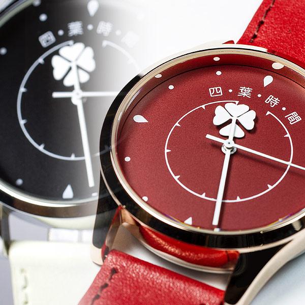 一時間に一度、四葉のクローバーが現れる幸運の腕時計【四葉時間】長針と短針が重なった瞬間に四葉のクローバーが現れます/本革製ベルト/送料無料/