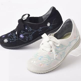 ミスキョウコ 4E花柄刺繍スニーカー 12107(6910) サイズ22.5cm-25.0cm 木村恭子さんの靴 コンフォートシューズ 疲れにくい靴「送料無料」