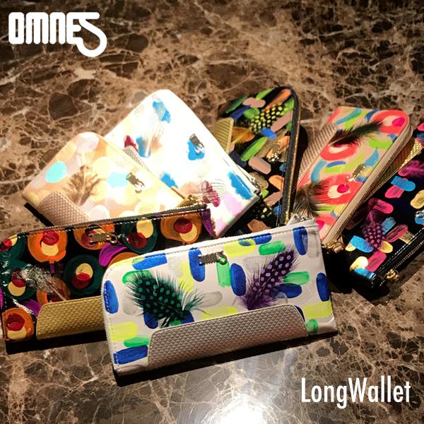 OMNES JUMBLEシリーズ 鹿革とリアルフェザーの ロングウォレット L字型 長財布 LongWallet オムネス エナメルフィルム 財布 ミニマリスト 薄型 大人可愛い 小銭入れ ファスナー