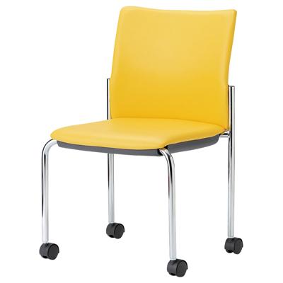 ミーティングチェア スタッキング 肘なし クロームメッキ 布張り/ビニールレザー張り キャスター脚 チェア 椅子 イス いす chair 会議用椅子 会議チェア 会議イス 会議用イス スタッキングチェア おしゃれ 業務用 オフィス家具 激安