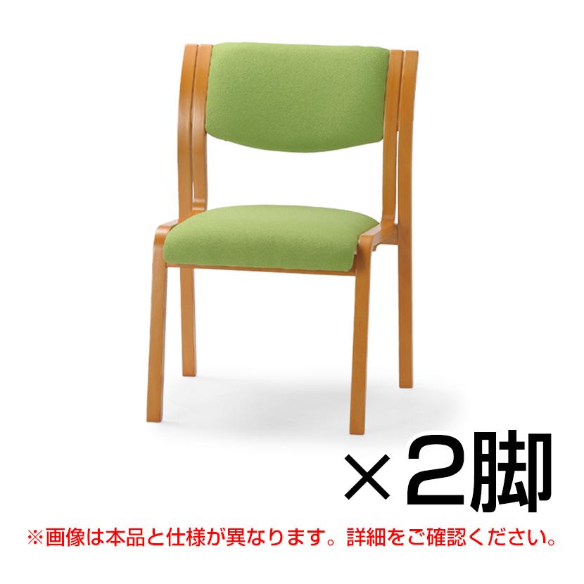 MW-310シリーズ ミーティングチェア 角背タイプ 肘なし レザー張り 2脚入 木製 談話室 娯楽室 介護 医療 施設 椅子 抗菌