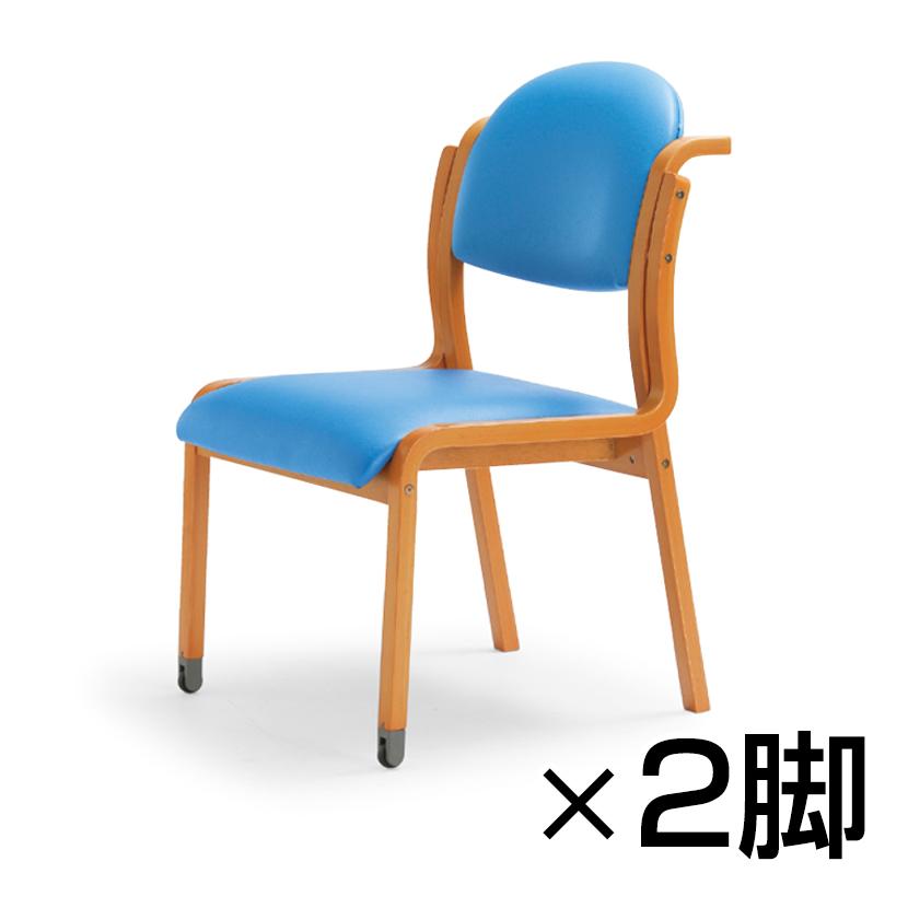 MW-320シリーズ ミーティングチェア 丸背タイプ 肘なし 持ち手付 キャスタータイプ レザー張り 2脚入 木製 談話室 娯楽室 介護 医療 施設 椅子 抗菌