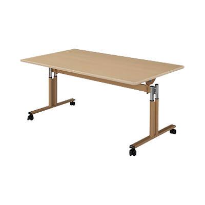 介護 福祉施設 跳ね上げ式 昇降 テーブル キャスター脚/幅1600×奥行900mm/HW-UFT-TT1690 リビングテーブル ダイニングテーブル 食堂テーブル 食堂机 介護用 老人ホーム 高さ調節