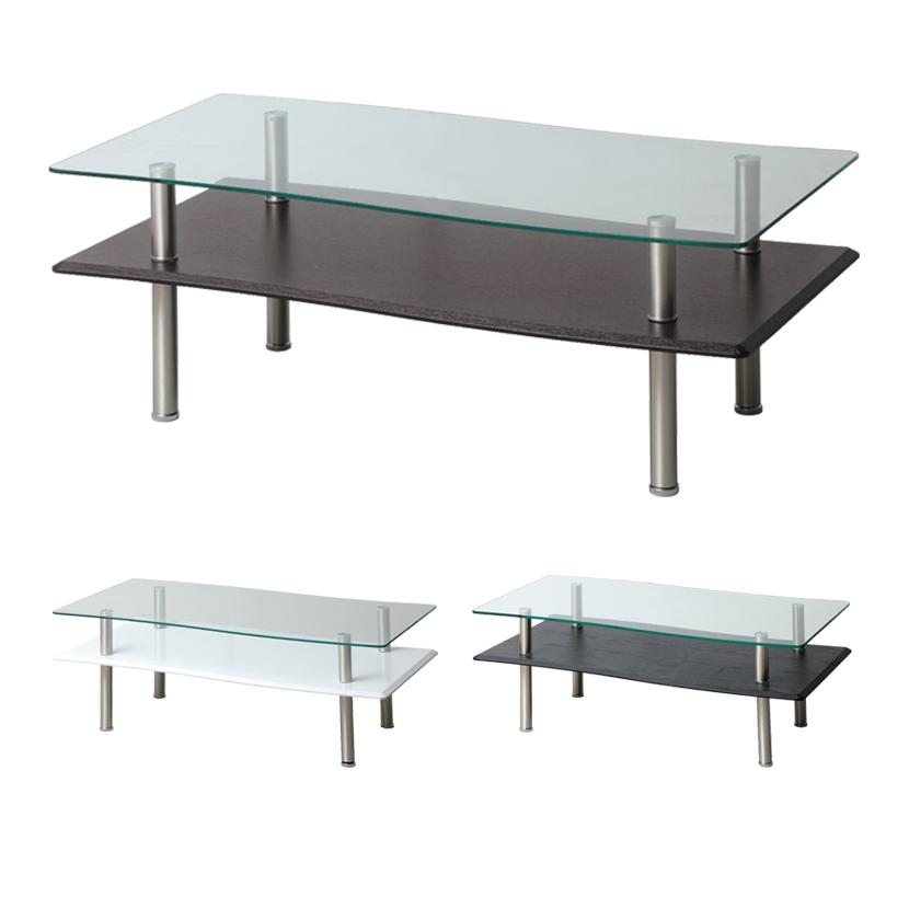 BREEZE(ブリーズ) リビングテーブル クリア強化ガラス ダイニング 幅1100×奥行550×高さ410mm モダン ホーム 家具 リビング