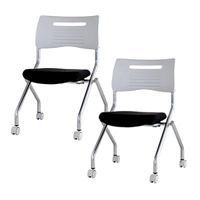 ミーティングチェア 会議用チェア ネスティング 平行スタック 【2脚セット】/IK-MSC-420-2椅子 イス いす 【ブラック・ブルー・オレンジ・ライム】