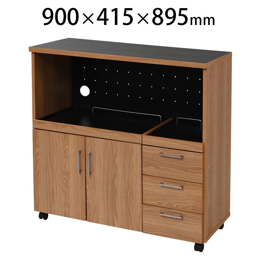 【Keittio】 北欧キッチンシリーズ キッチンカウンター レンジ収納 幅900×奥行415×高さ895mm ノルディックデザイン ラック 収納 オフィスの給湯室・食器棚