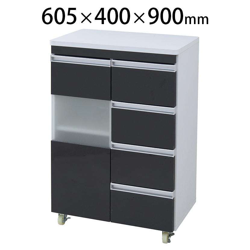 Parl モダン鏡面カウンターワゴン 家電・キッチン収納 幅605×奥行400×高さ900mm JKP-FPL-0002