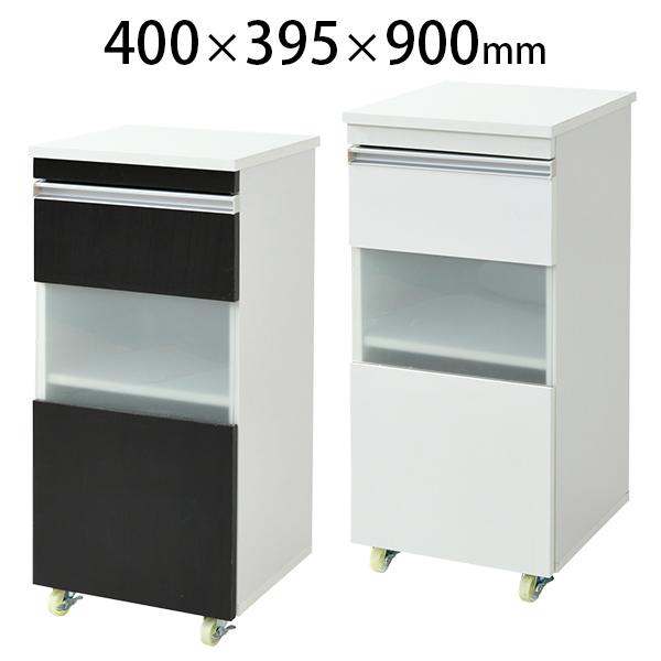 キッチンラック キャビネット スリム キャスター付き ロータイプ 幅400×奥行395×高さ900mm FKC-0005