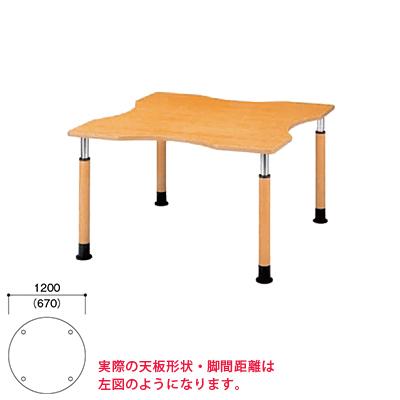 介護/福祉施設用丸テーブル/ラチェット昇降式/φ1200×高さ600~800mm/FPS-1200R ラウンドテーブル ダイニングテーブル リビングテーブル 机 デスク 介護施設 高さ調節 老人ホーム テーブル