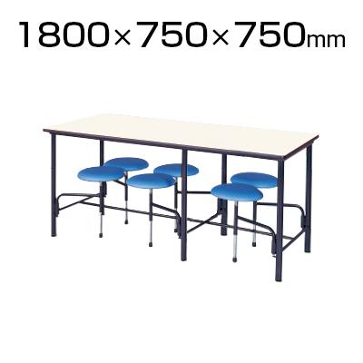 ダイニングテーブル/幅1800×奥750×高さ740mm・6人掛・自動復元式イス背なし/STM-1875