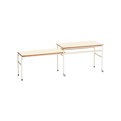 【完成品】給食台 配膳台 テーブル/伸縮式2段 幅1750×奥行450×高さ600(500) キャスター付き/EDH-2 学校用 給食 配膳