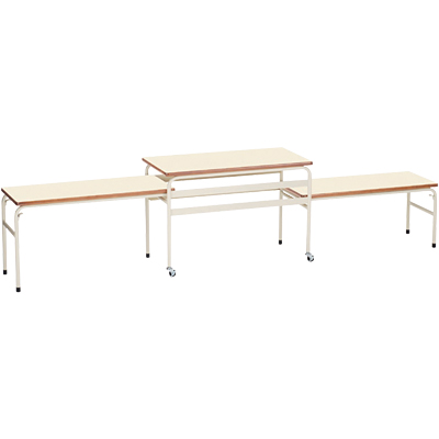【完成品】給食台 配膳台 テーブル/伸縮式3段 幅2600×奥行450×高さ600(500 400) キャスター付き/EDH-3 学校用 給食 配膳