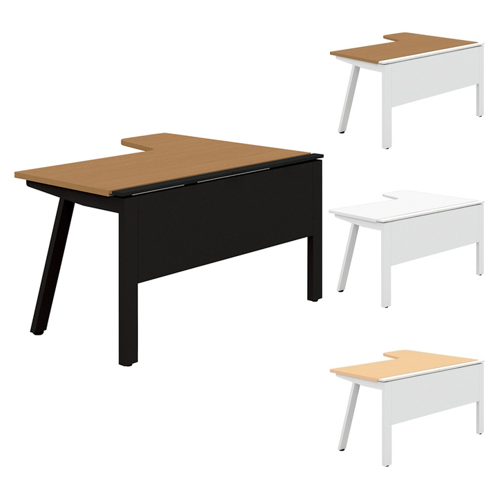 PLUS Genelaシリーズ デスク/テーブル 単体R右 幅1400×奥行700(1100)×高さ720mm GE-147RR