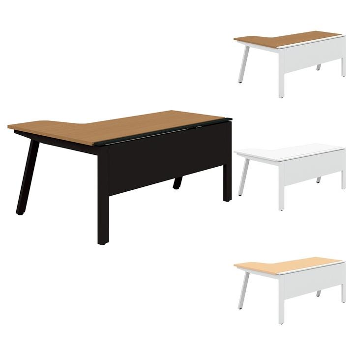 PLUS Genelaシリーズ デスク/テーブル 単体R左 幅1600×奥行700(1100)×高さ720mm GE-167RL