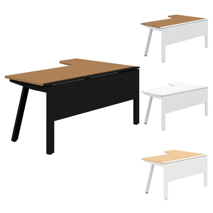 PLUS Genelaシリーズ デスク/テーブル 単体R右 幅1600×奥行700(1100)×高さ720mm GE-167RR