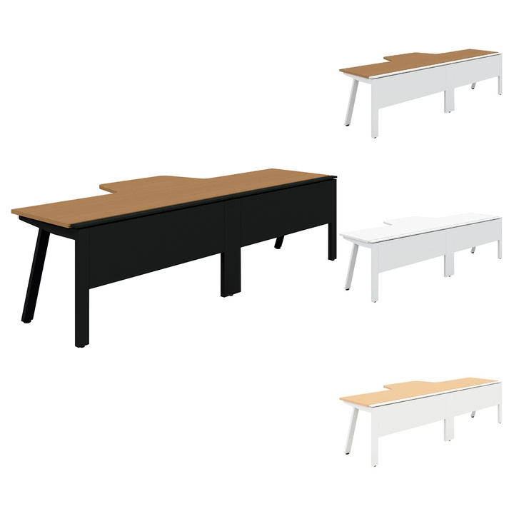 PLUS Genelaシリーズ デスク/テーブル 片面Rセット 幅2800×奥行700(1100)×高さ720mm GE-287KR