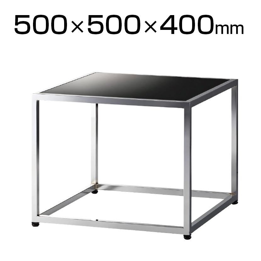 QUON(クオン) ガラスセンターテーブル 応接テーブル 塗装ガラス シルバー脚 幅500×奥行500×高さ400mm QU-TB-64-500
