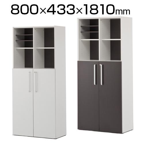 プリーマII 木製格子型シェルフ2列5段 共通扉付き オープン + 両開き グレーバック SHWKS2-25LD