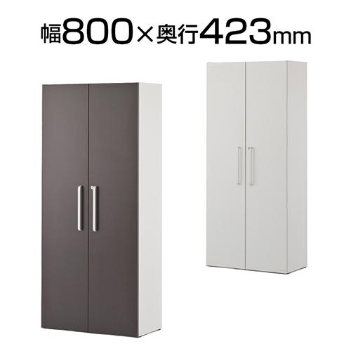 プリーマ 木製格子型シェルフ 2列5段 全面扉付き 幅800×奥行423×高さ1810mm