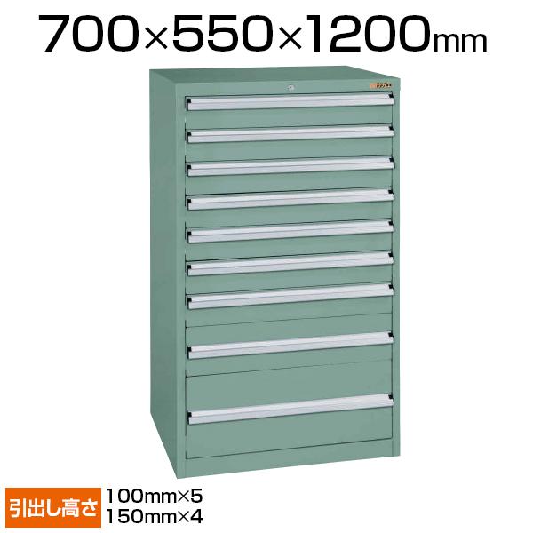 サカエ 重量キャビネット SKVタイプ 9段 鍵付き オールロック 均等耐荷重100kg(引出し1段あたり) 幅700×奥行550×高さ1200mm SKV7-1292ANGN