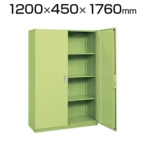 サカエ 工具管理ユニット 業務用棚 保管庫 収納 4段 スチール 両開き 均等耐荷重80kg 幅1200×奥行450×高さ1760mm グリーン KU-120NAN