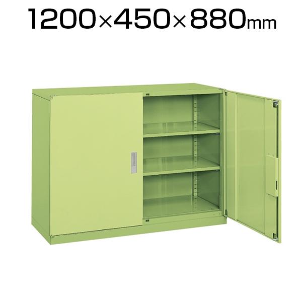 サカエ 工具管理ユニット 業務用棚 保管庫 収納 3段 スチール 両開き 均等耐荷重80kg 幅1200×奥行450×高さ880mm グリーン KU-123NBN