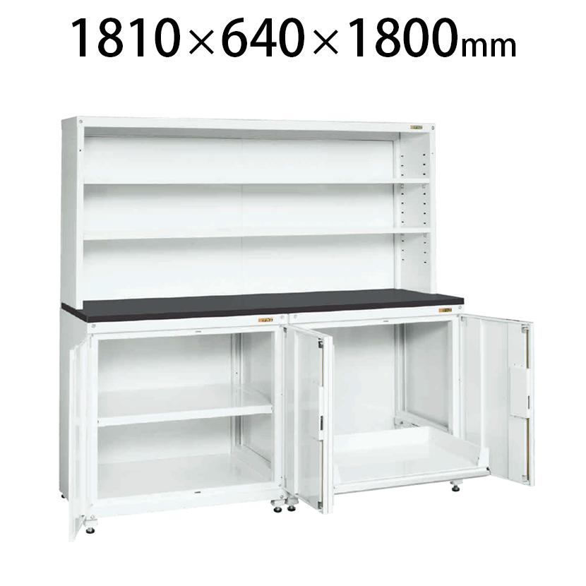 サカエ PNH-RS18DW | 保管システム収納庫 左側/固定棚 右側/スライド棚 扉付き 保管庫 均等耐荷重250kg/段 幅1810×奥行640×高さ1800mm