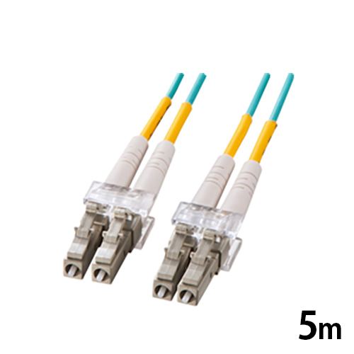 サンワサプライ OM3光ファイバーケーブル 5m 光ファイバーコア径 50±2.5ミクロン アクア LCコネクタ - LCコネクタ