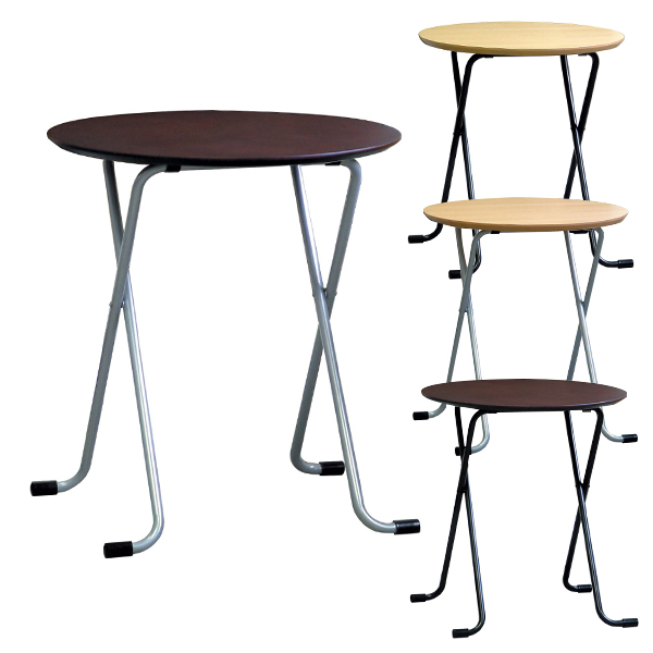 テーブル 丸型 幅600×奥行600×高さ680mm スマート収納 薄型折りたたみ式 完成品 日本製