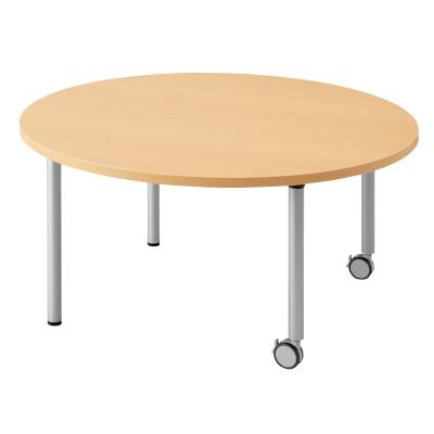PLUS(プラス)オフィス家具 E5シリーズ テーブル 円形 片キャスター脚タイプ(H700・640・580) W(幅)1200 D(奥行き)1200 H(高さ)580