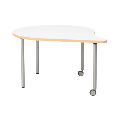 PLUS(プラス)オフィス家具 E5シリーズ テーブル 涙形 片キャスター脚タイプ(H700・640・580) W(幅)1328 D(奥行き)1100 H(高さ)700