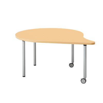 PLUS(プラス)オフィス家具 E5シリーズ テーブル 涙形 片キャスター脚タイプ(H700・640・580) W(幅)1328 D(奥行き)1100 H(高さ)640