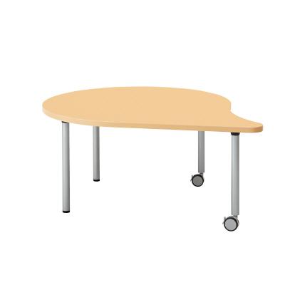 PLUS(プラス)オフィス家具 E5シリーズ テーブル 涙形 片キャスター脚タイプ(H700・640・580) W(幅)1328 D(奥行き)1100 H(高さ)580