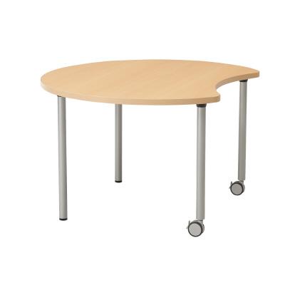 PLUS(プラス)オフィス家具 E5シリーズ テーブル ムーン形 片キャスター脚タイプ(H700・640・580) W(幅)1200 D(奥行き)1057 H(高さ)700