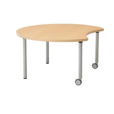 PLUS(プラス)オフィス家具 E5シリーズ テーブル ムーン形 片キャスター脚タイプ(H700・640・580) W(幅)1200 D(奥行き)1057 H(高さ)640